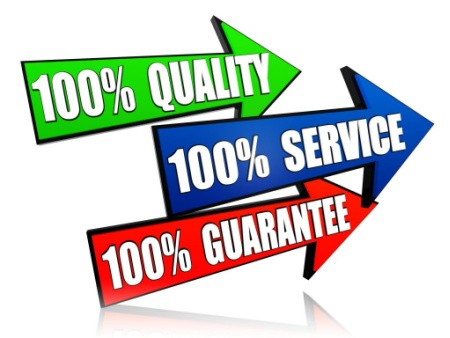What we are all about, 100% Guarantee, 100% Service, 100% Quality.